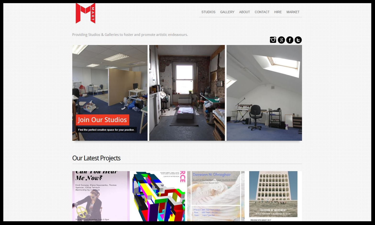 MART:  Various locations Independent, affordable space for the arts, cultural and creative community in Dublin city.  Type:  Coworking and StuDio Space  Quick Contact: I nfo@mart.ie +353 (0) 1 5159692