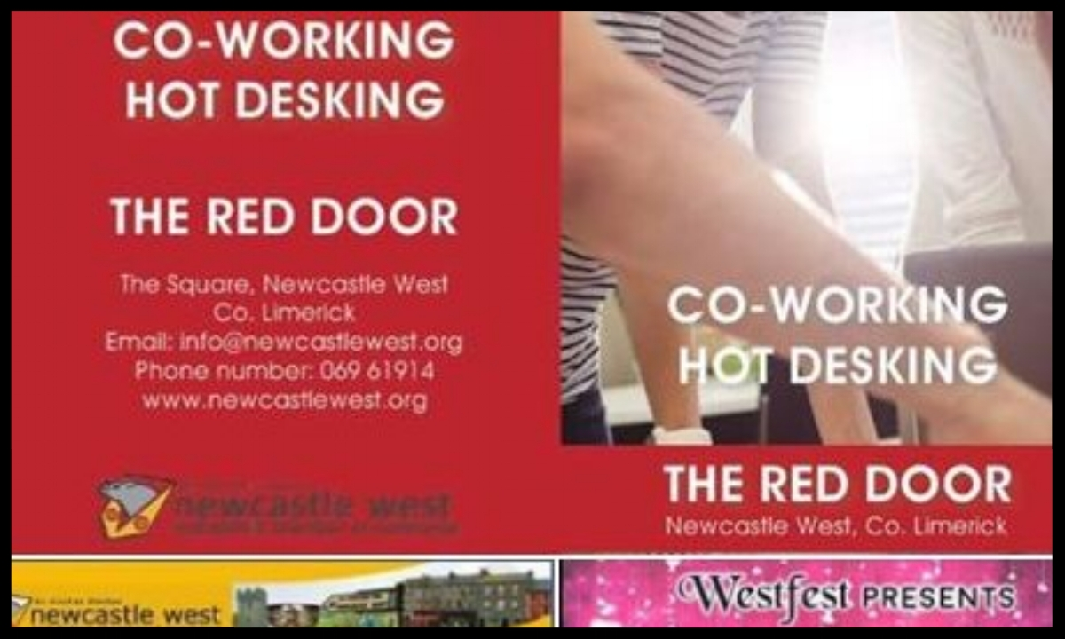 The Red Door  Newcastle West is operated by The Newcastle West & District Chamber of Commerce.  Type:  Incubation space with coworking  Quick Contact:  +353 (0)69 61914 info@newcastlewest.org