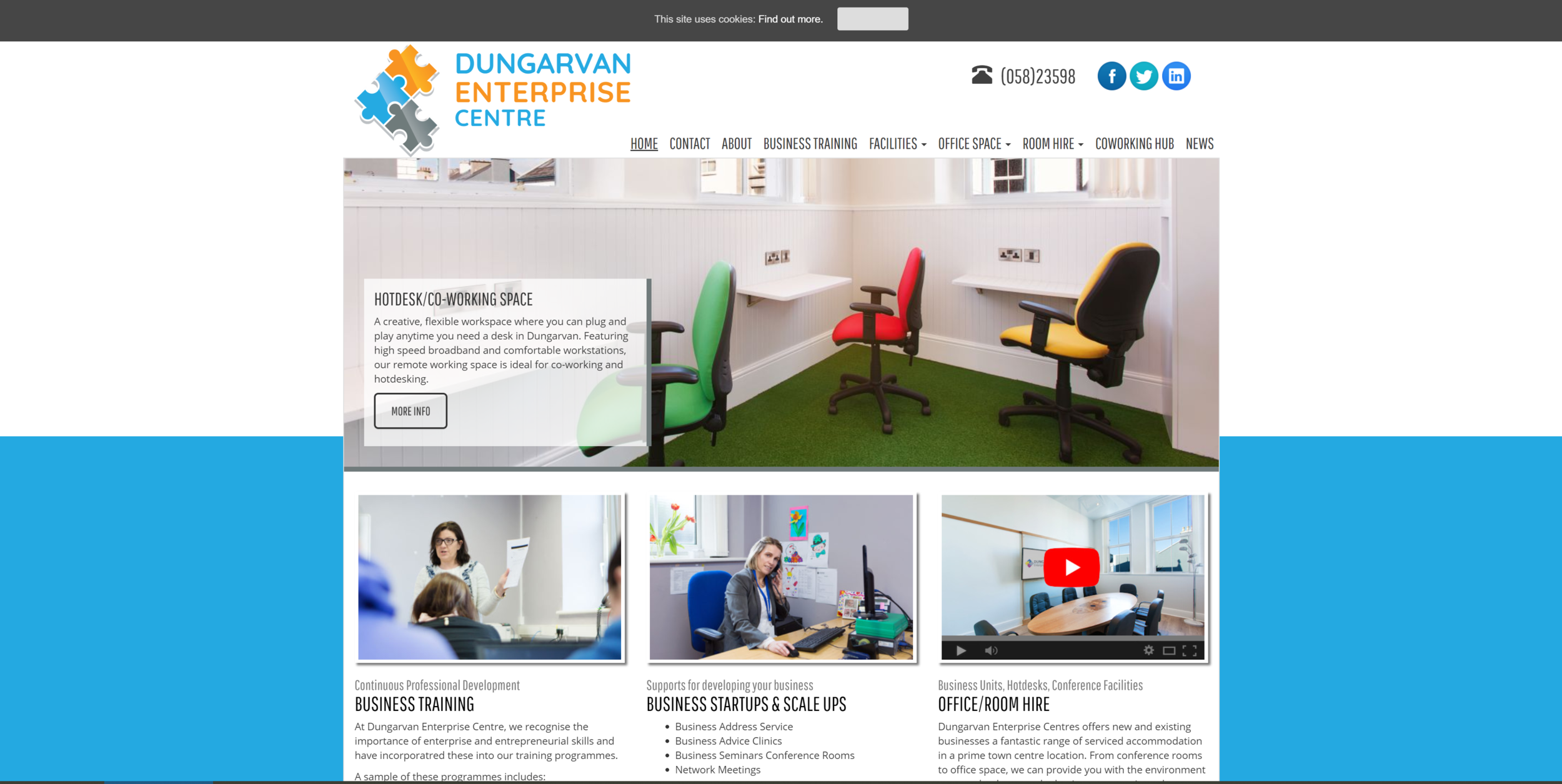Dungarven Enterprise Centre i s centrally located in the historic Old Friary Building on Lower Main Street and has been refurbished to the highest standards, offering a full range of services at competitive rates. As an innovation centre for start-up and growing businesses, we are here to help, support and give encouragement to people and help them realise their dream.   Quick Contact:  +353 (0)58 23598 info@dungarvanec.com