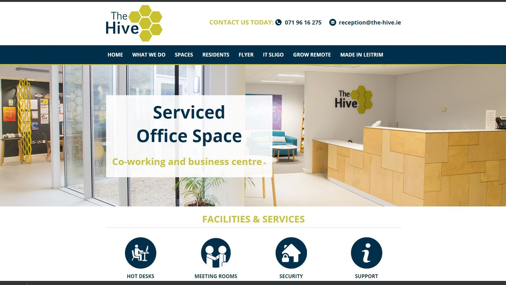 The Hive,  Carrick-on-Shannon offers office spaces,hot desk work areas and also large and small meeting rooms all with fibre broadband connection.  a contemporary, productive work environment with our hot desk areas allowing for ample individual work space.    Quick Contact: + 353 (0)71 96 16 275    reception@the-hive.ie