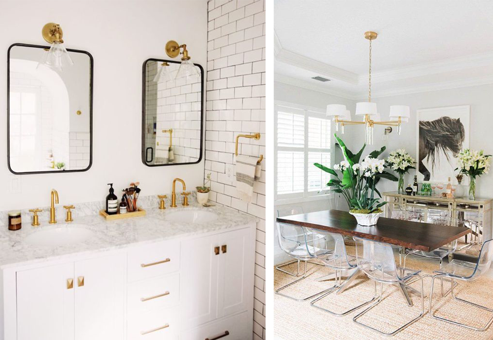 Mixed metals with black matte finishes vs. silver and gold dining pairs
