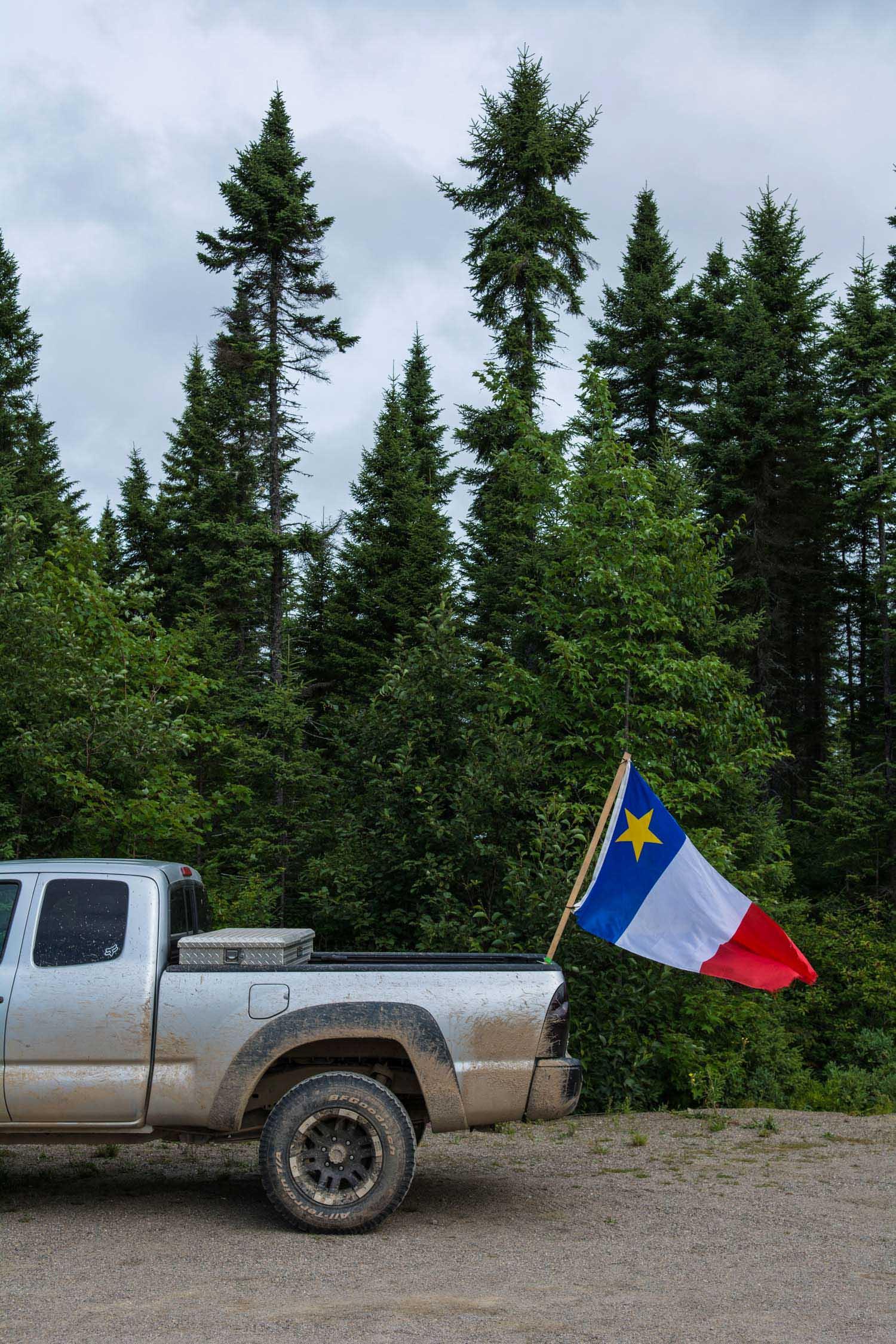 Acadian Flag Pick Up Truck