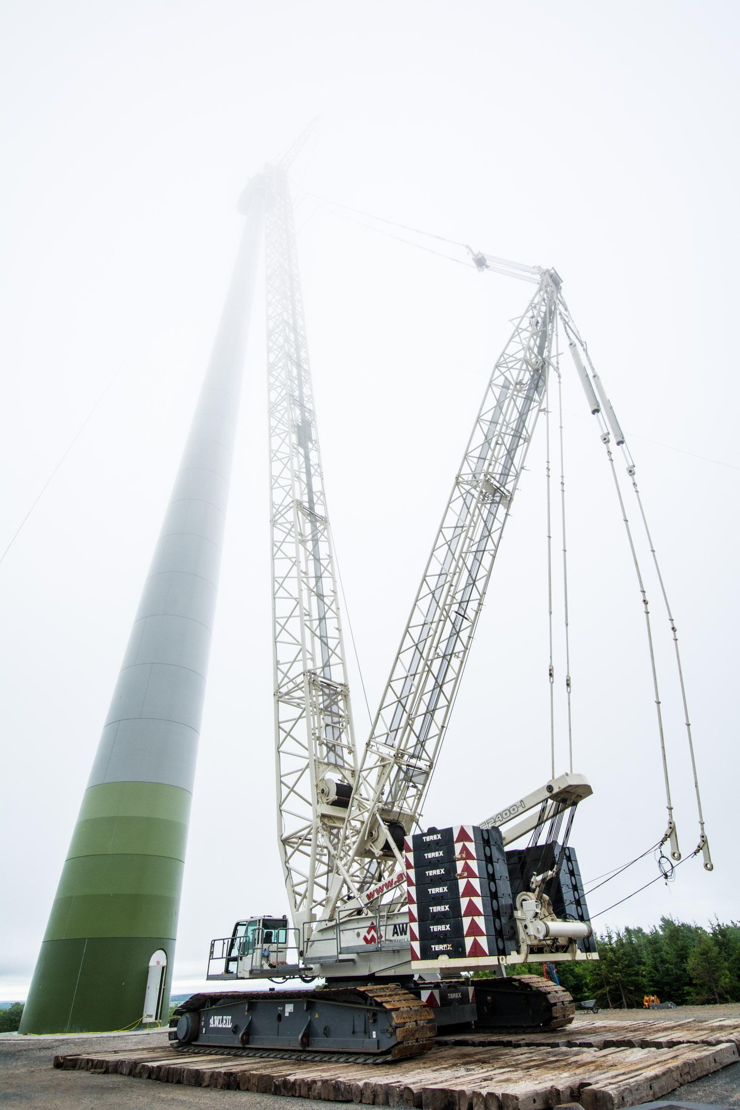Wind Turbine Lift in Fog