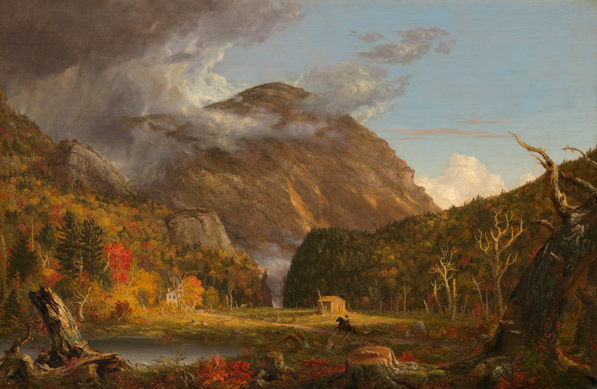 Artist: Thomas Cole. A View of the mountain pass Called  the Notch of the White Mountains (Crawford Notch). Open Access; NGA Images.