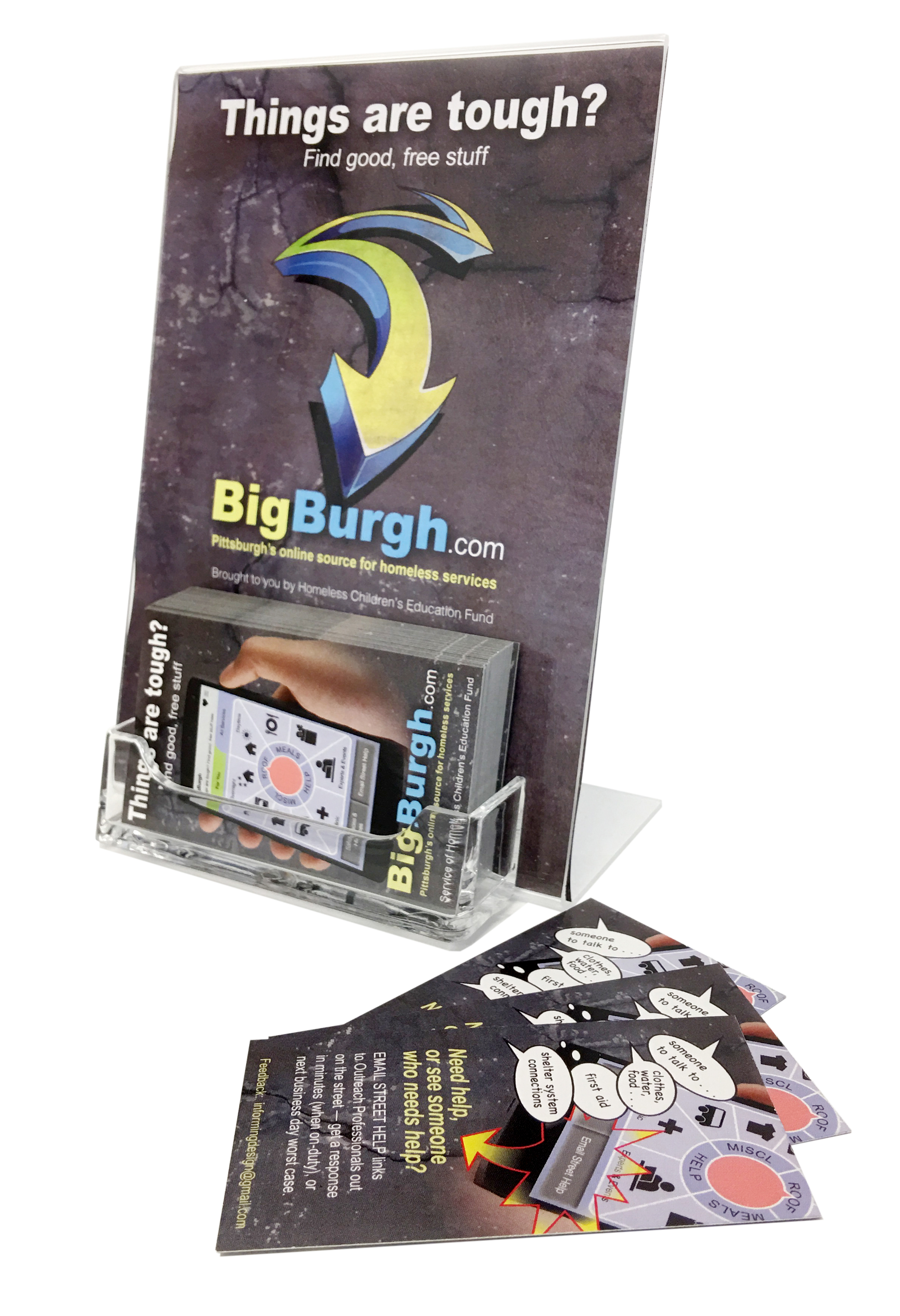 5,000 BigBurgh business cards are printed each month and distributed to libraries, agencies, and professionals.