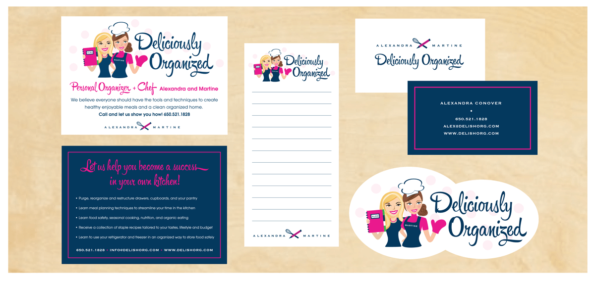 DELICIOUSLY ORGANIZED Project:  Branding for a dynamic duo, a Personal Organizer and Chef. Logo Design, Stationery and Custom Illustration.