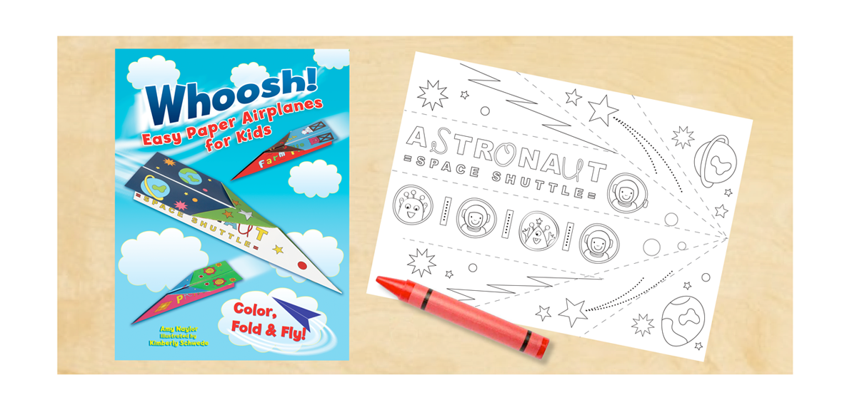 DOVER PUBLISHING   Project:  A children's  activity workbook  including 12 unique coloring sheets for paper planes. Custom Illustrations.
