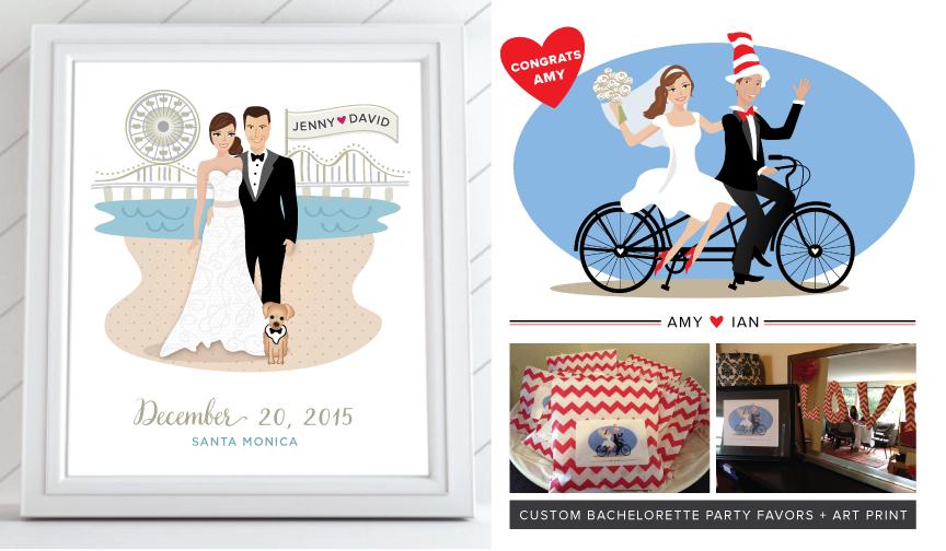 Custom Wedding Caricatures Bride and Groom Illustrations
