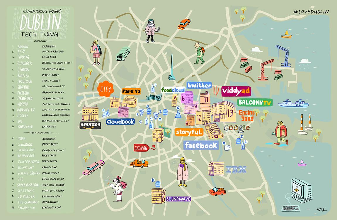Dublin Ireland Technology Scene Town Map #lovedublin