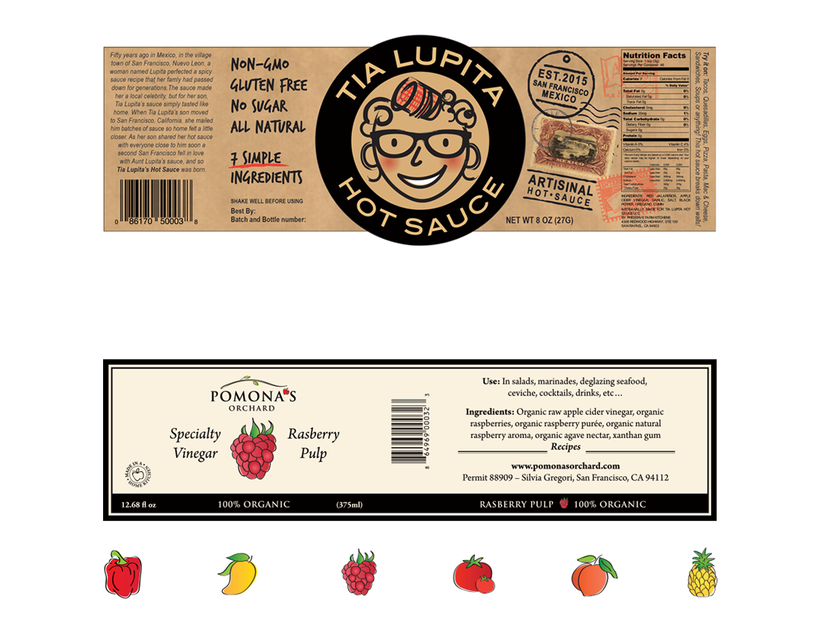 PACKAGING DESIGN    Project:  Packaging design for a hot sauce and specialty vinegar label. Custom illustrations and logo design.