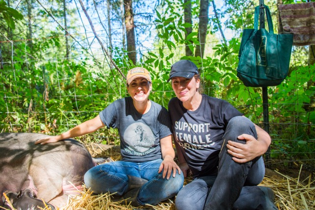 Support Female Farmers - Janya and Audra helping farrow in our Public Market Tees. Picture by Janya's six-year old!