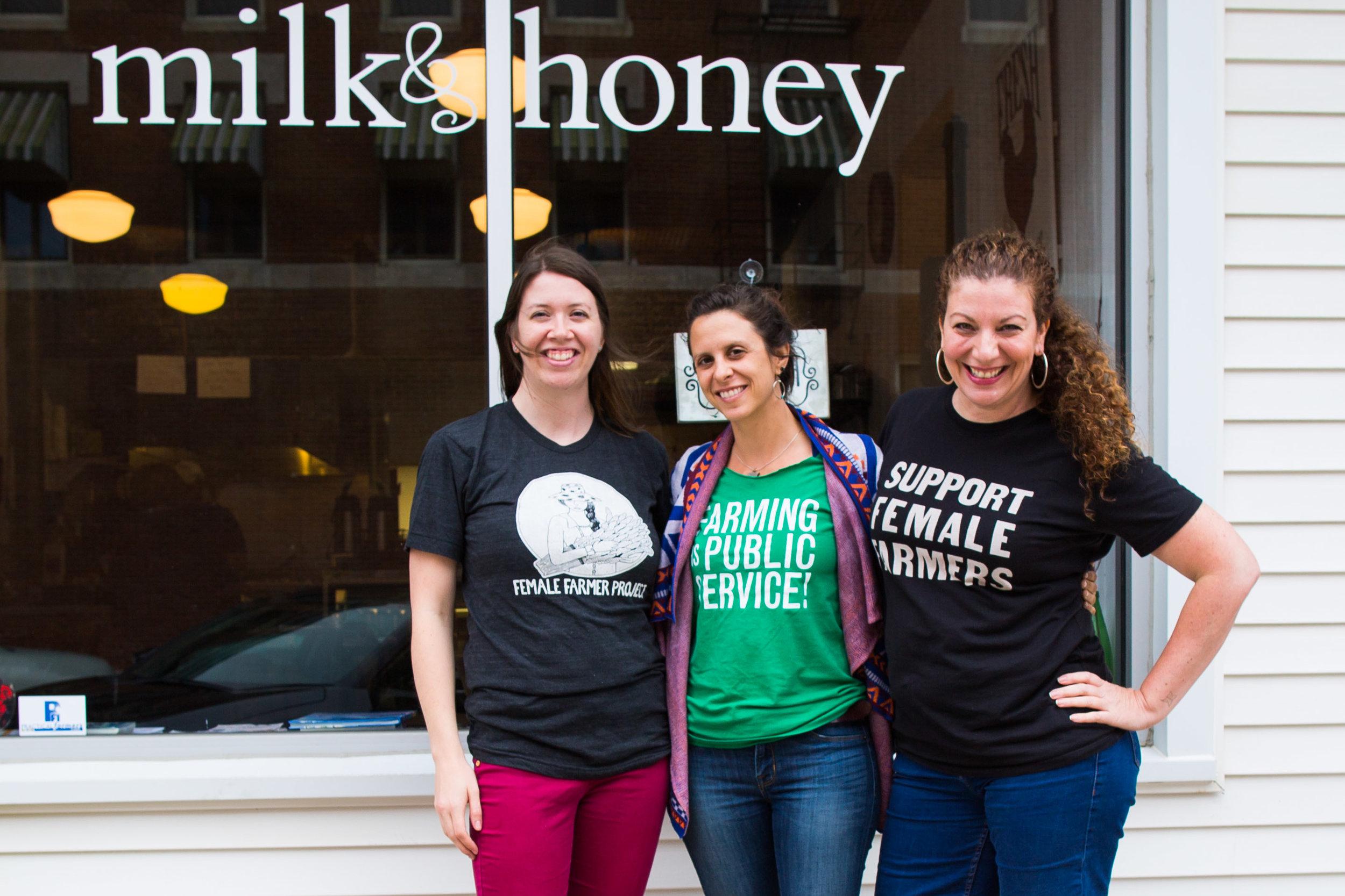 Ellen, Debbie and Audra in front of Ellen's farm-to-table restaurant,  Milk & Honey