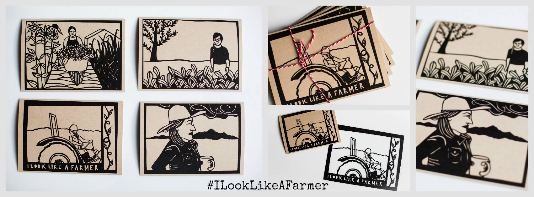 The  #ILookLikeAFarmer 5x7 limited edition notecard series to benefit women in agriculture around the globe.  We collaborated with artist Anna Brones for this project - she created four papercuts, inspired by the women from the  #FemaleFarmerProject . Proceeds will benefit the  Women, Food and Agriculture Network to support their initiatives for US-based female farmers. These limited edition cards were printed on 5x7 notecards by woman-owned, Girlie Press on recycled paper. They are suitable for framing if desired. Link below to purchase your set, they will make amazing gifts that will give back over and over again.