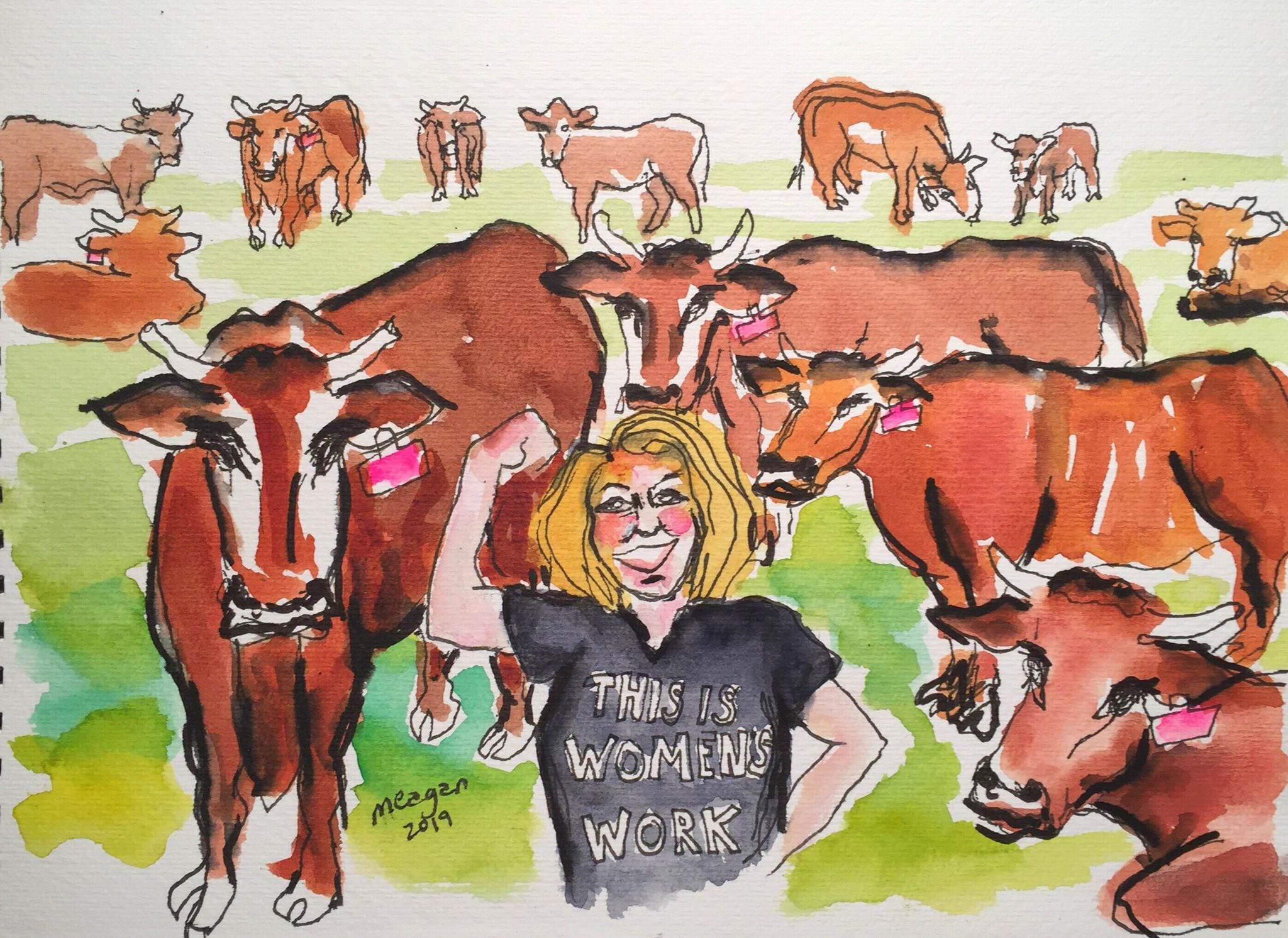 Meagan sketched herself in our tee from our in-production documentary film,  Women's Work
