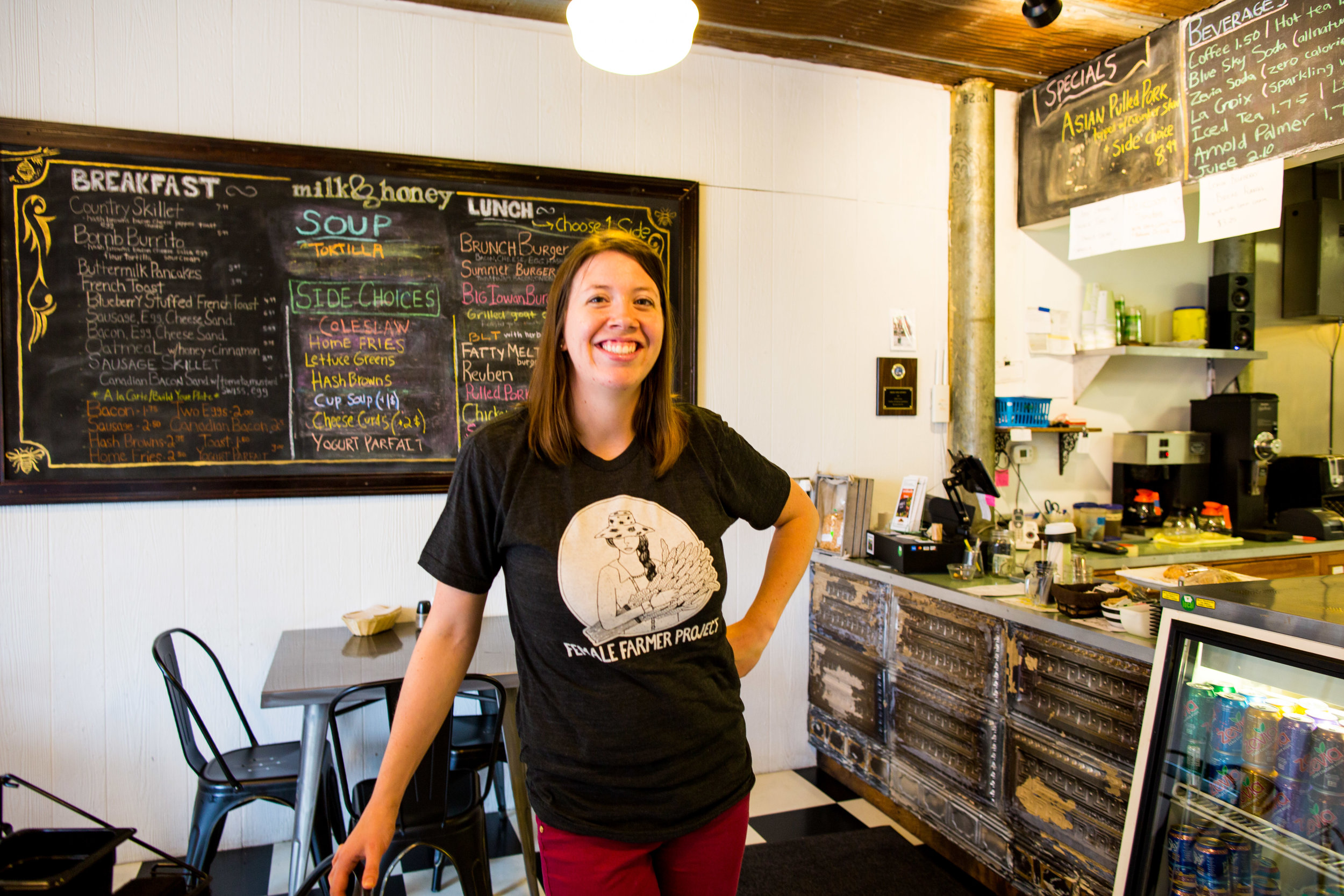 Ellen also owns and operates a farm to table cafe in Harlan, IA