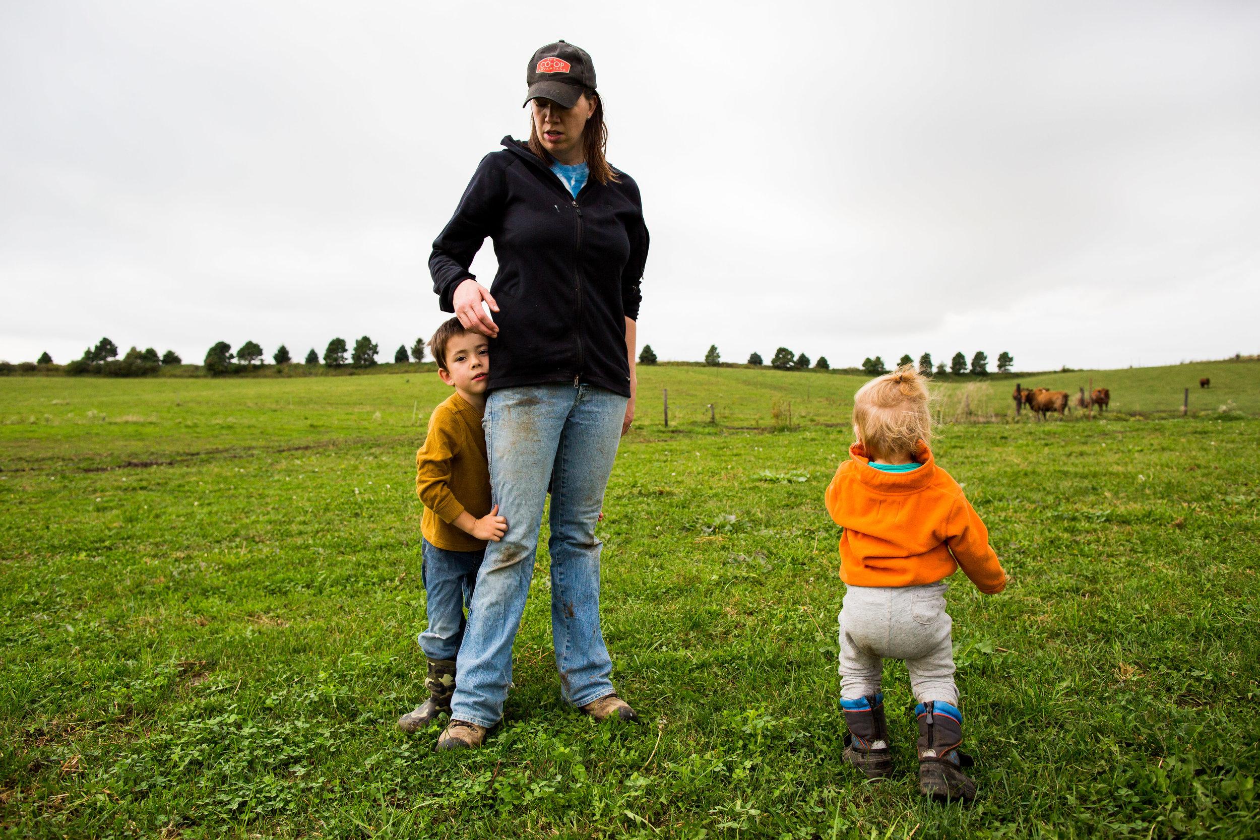 Raising her children on the multi-generational family farm