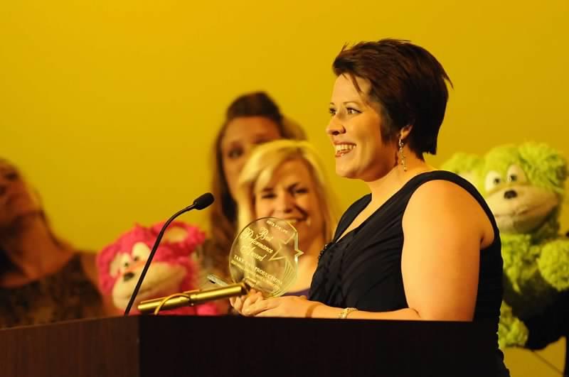 Melissa Guffey accepts the award for Best Small Ensemble Musical.
