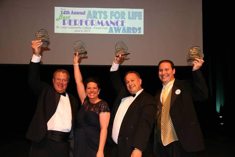 Bill Beilstein, Melissa Guffey, Gary Long, and Pat Klick celebrate their wins.