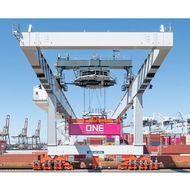 """Which container is it? The Pink One"" Port of Los Angeles, Long Beach, Ca. 📷©️: SK Lorenzen/Monument Photography 2018. Contact in profile for license. ___________________________________ #oceannetworkexpress #pink #freight #logistics #infrastructure  #industrial #transport #transportation #industrialphotographer #industrialdesign #design #shipping #longbeach #california #crane #stevedore #oceancargo #cargo #landscape"