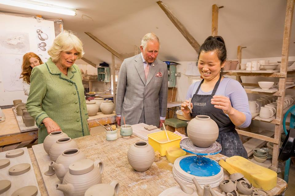 HRH The Prince of Wales and HRH The Duchess of Cornwall meeting a student of the DCCoI Ceramics Skills & Design Course during their visit on May 11, 2017 — at Pottery Skills Course, Island Mill, Thomastown.jpg