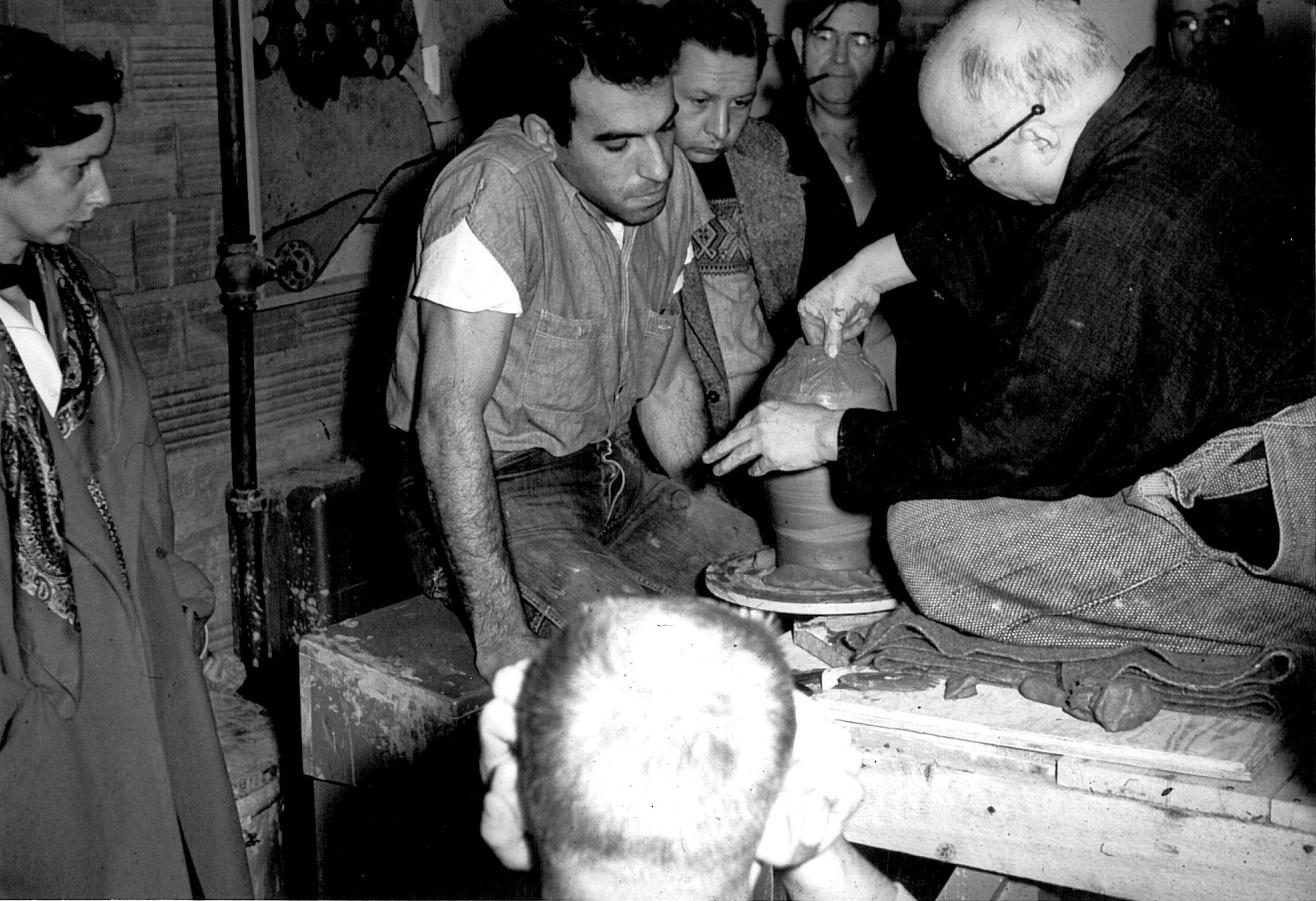 Voulkos_kick wheel_for_Shoji Hamada_1952.jpg