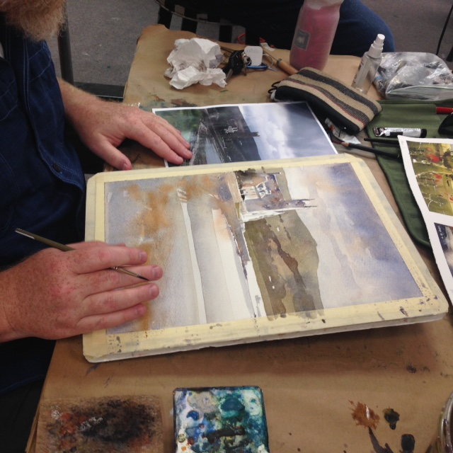 "Day 2: Iain Stewart demonstrates wash values and ""saved lights"" in paintings"