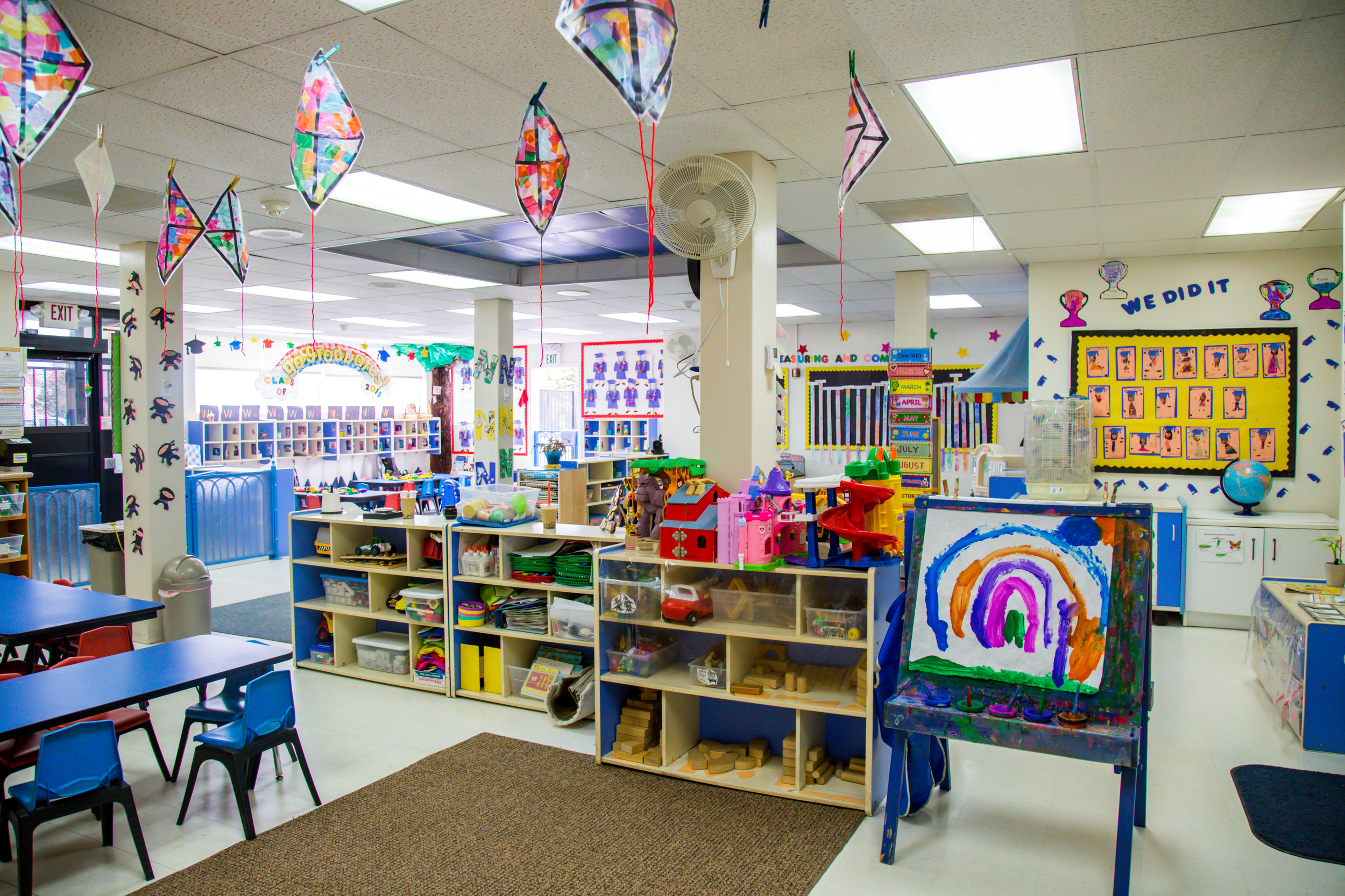The Daisy Room's art center. Colorful projects made by the children surround us ina fun, receptive environment for learning and playing.