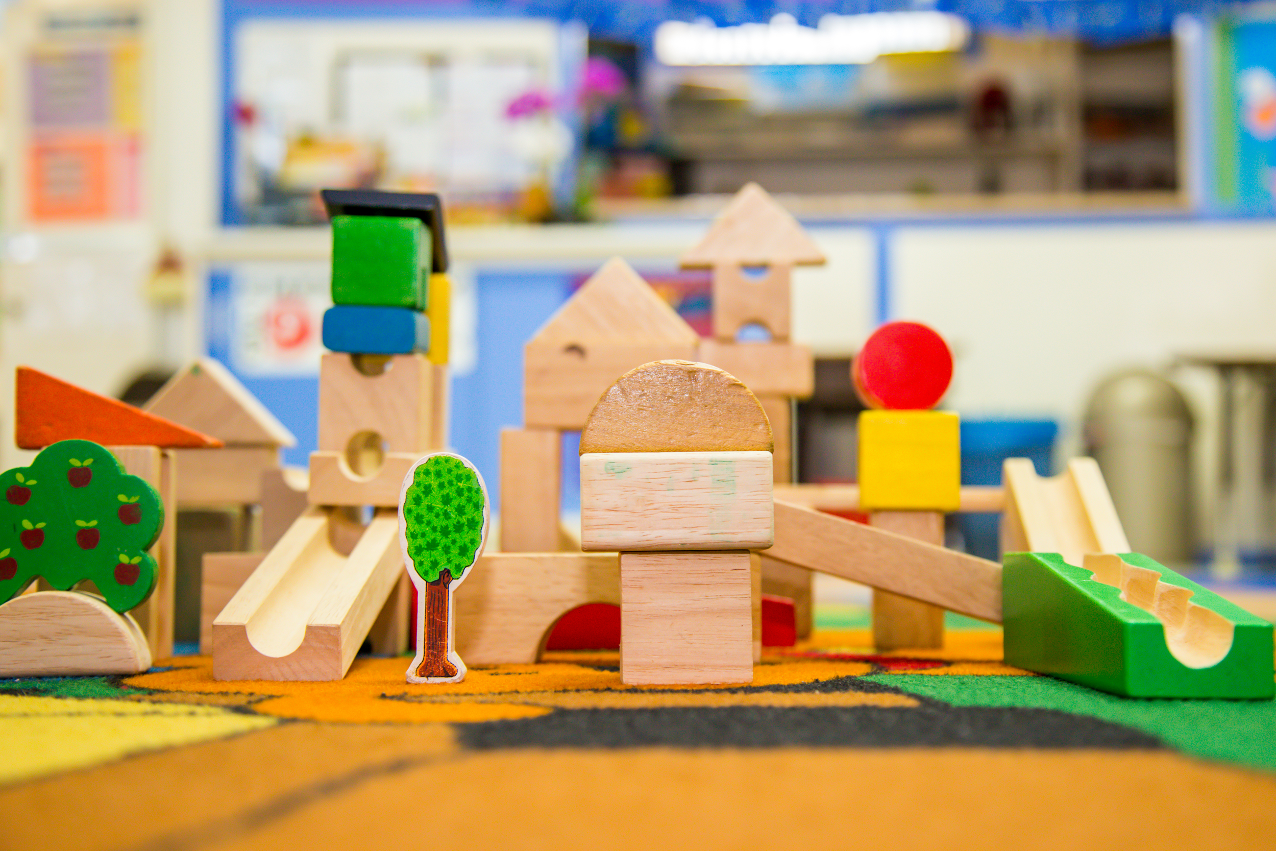 Each morning, and sometimes on rainy afternoons, the classroom is set upwith a variety of manipulative toys in addition to our art center, block area, computer and library areas, and science center, which are always open for curious hands.