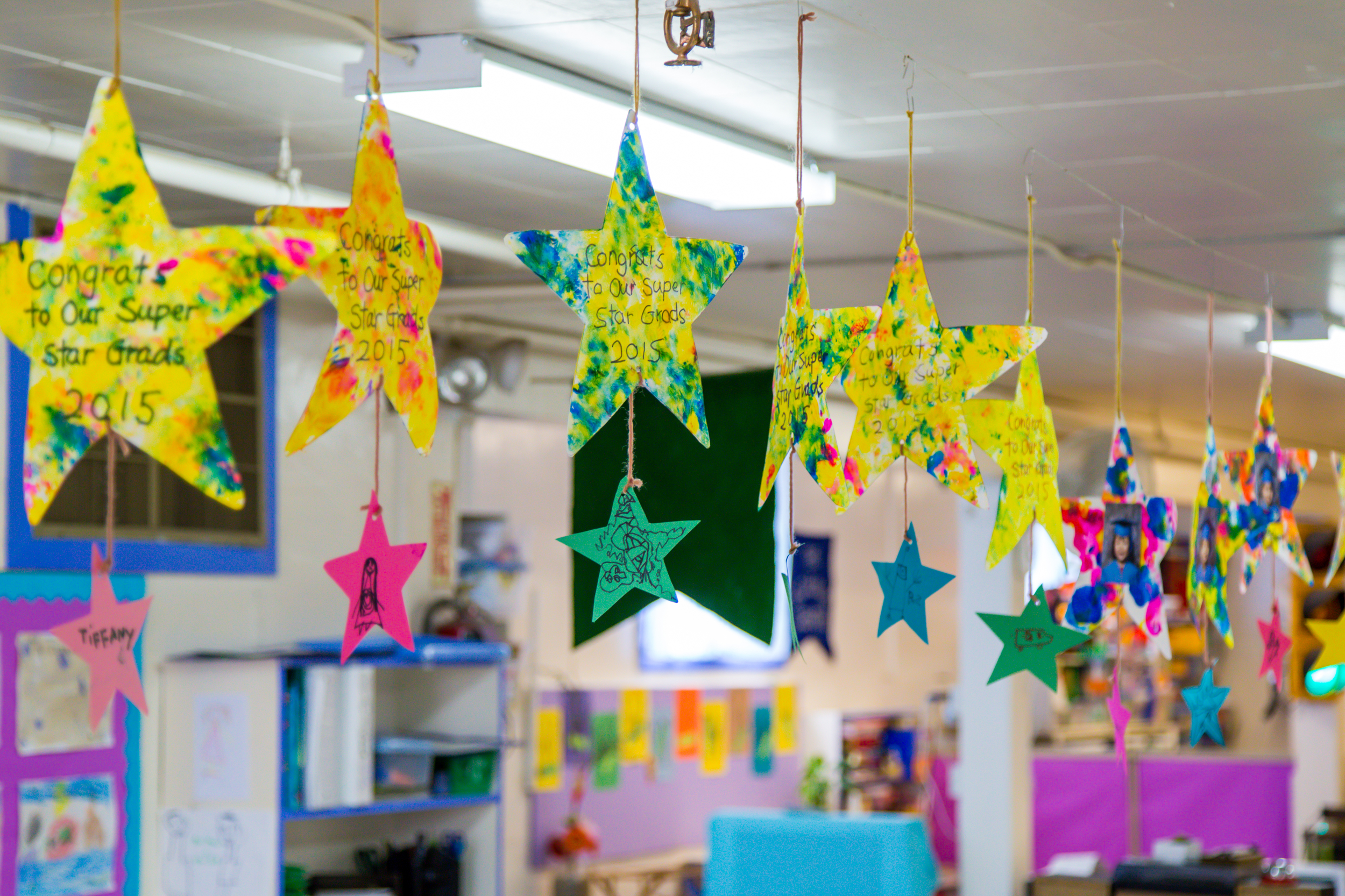 Bright colors and artwork bring an exciting feel to the classroom and a sense of accomplishment to the children when they see their names.