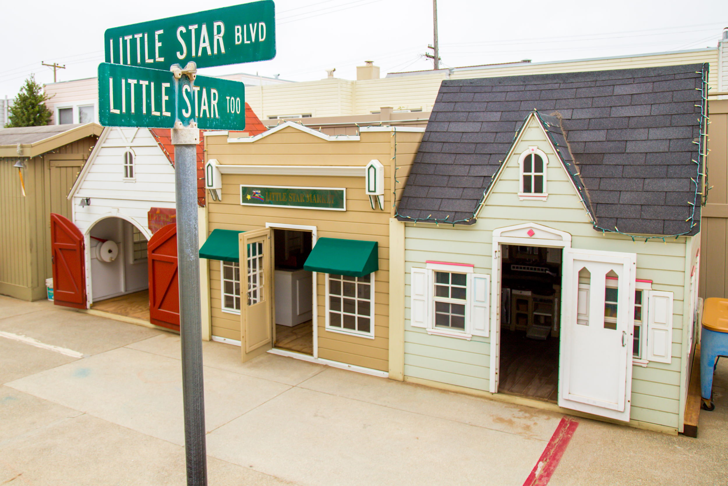 """Little Star Preschool """"Too"""" is our second location, located at 1105 Quintara Street. Pictured here are our three outdoor dramatic play areas - great for a quieter moment with a few friends or to keep warm on a foggy San Francisco day."""