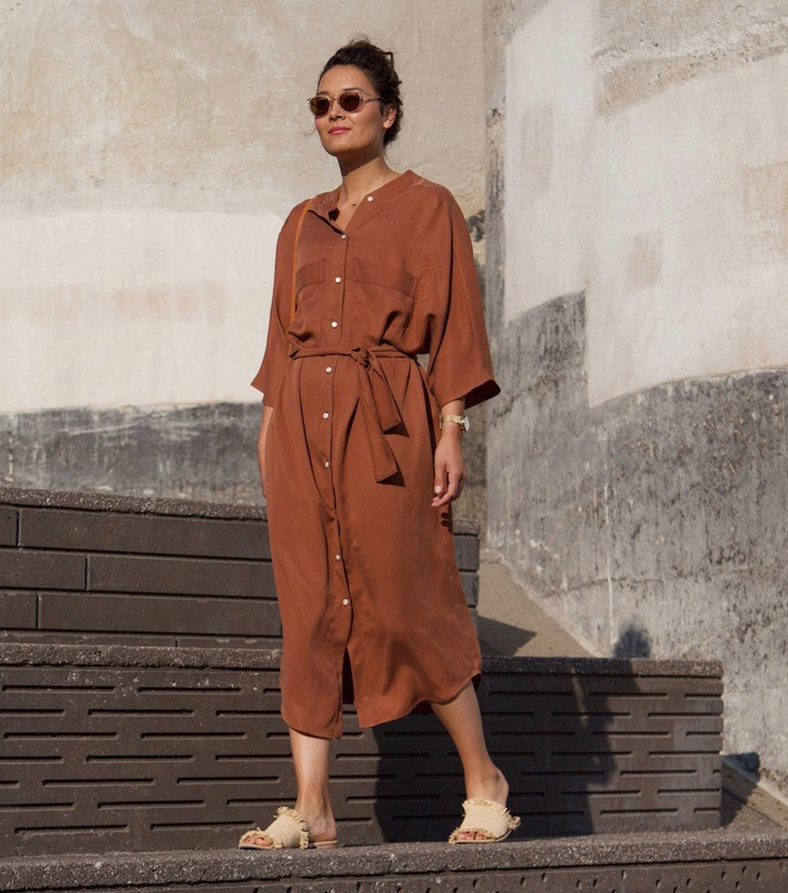 Hackwith Design House - Button Up Pocket DressHackwith creates the most beautiful garments, and this Copper button dress is no exception. Perfect for a summer evening or a day out in the city. The material is a Lyocell blend too for extra breathability and sustainability.