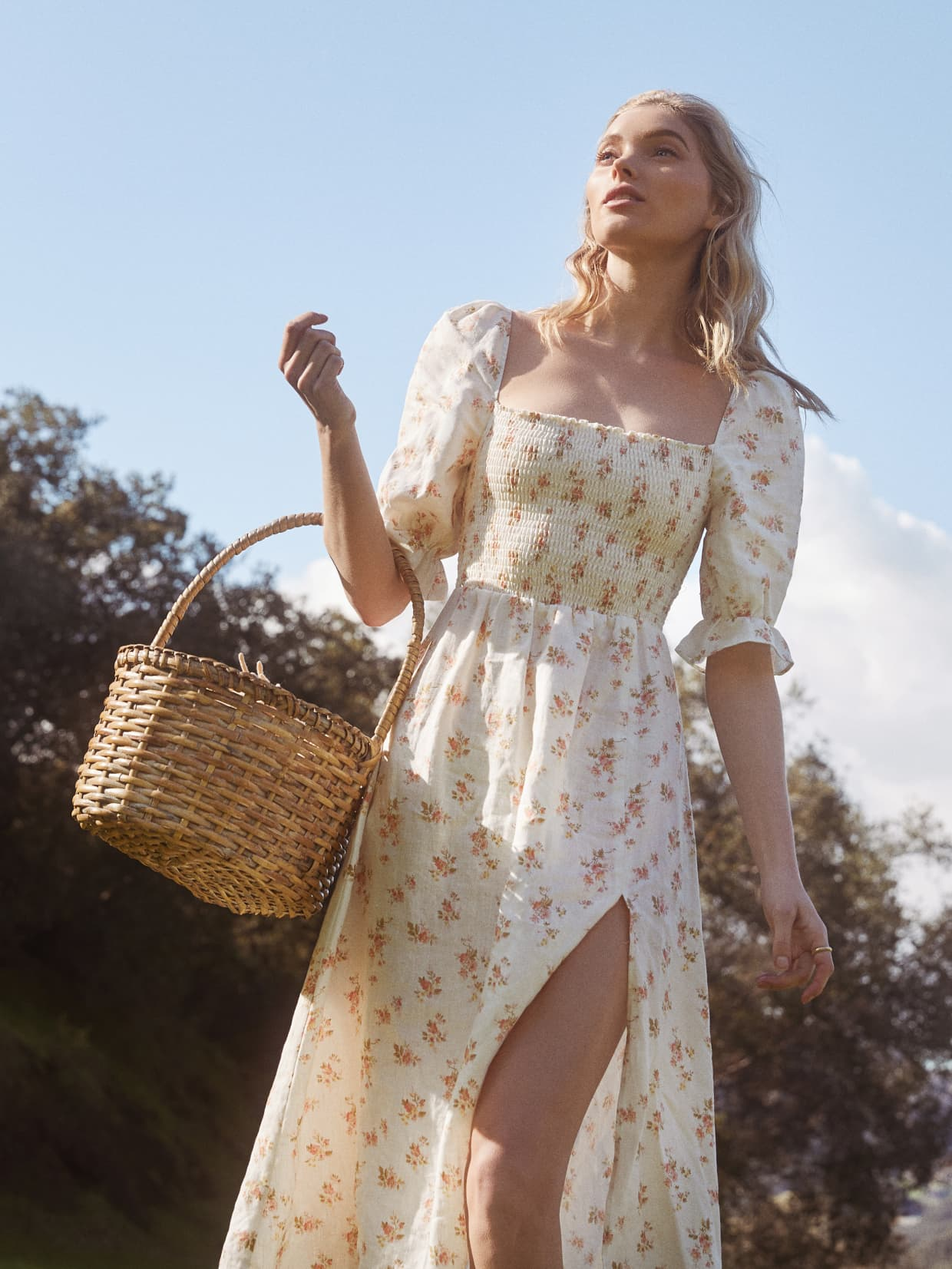 Reformation - Marabella DressThe ultimate fairytale dress, the Marabella looks comfortable, flattering and so dreamy. The stretchy midsection allows for lots of snacking (ice cream anyone?) and those puffy sleeves and skirt slit would be so nice on a warmer day.