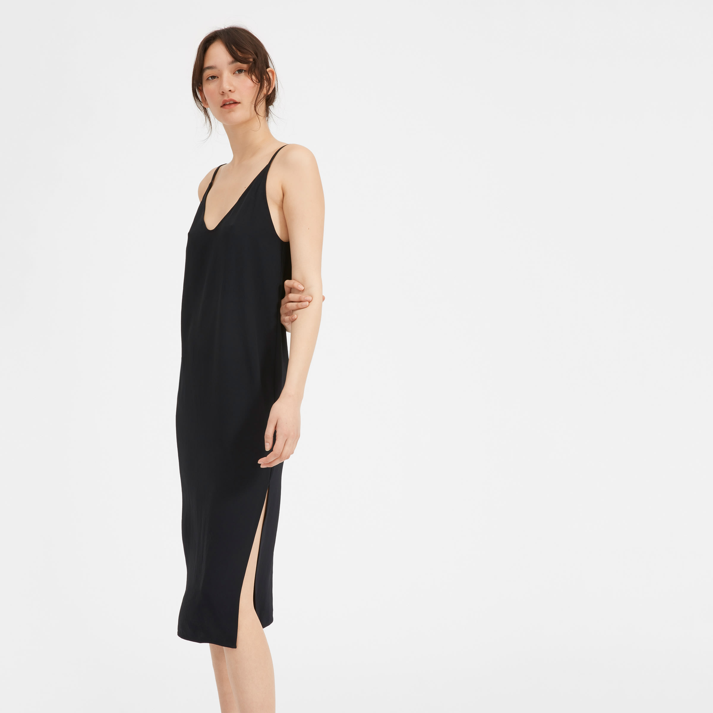 Everlane - GoWeave Slip DressThe ultimate cocktail hour dress. I love that this slip dress still has shape and can be used with a jacket of any kind, or undershirts on a cooler day. The length too is perfect for boots, sandals or heels. A great economical option.