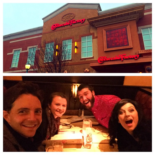 Date-bombing BK & Jessica at the Cheese Cake Factory.  Apparently it's @bpbc night in Buford.  #pastorjeff&fam #odums #coolcollegegirls