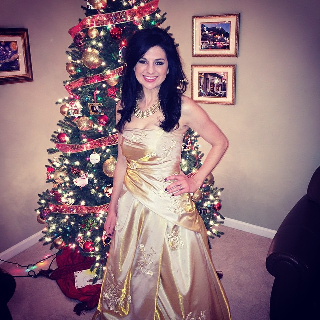 My Christmas angel.  Post-baby in her high school prom dress.  She's still the prettiest girl I know, INSIDE and out.