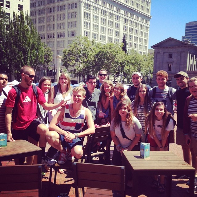 #pdx14 Our team with an awesome group of NAMB interns.  God used these guys to have 273 one-on-one gospel presentations in the heart of Portland…so far