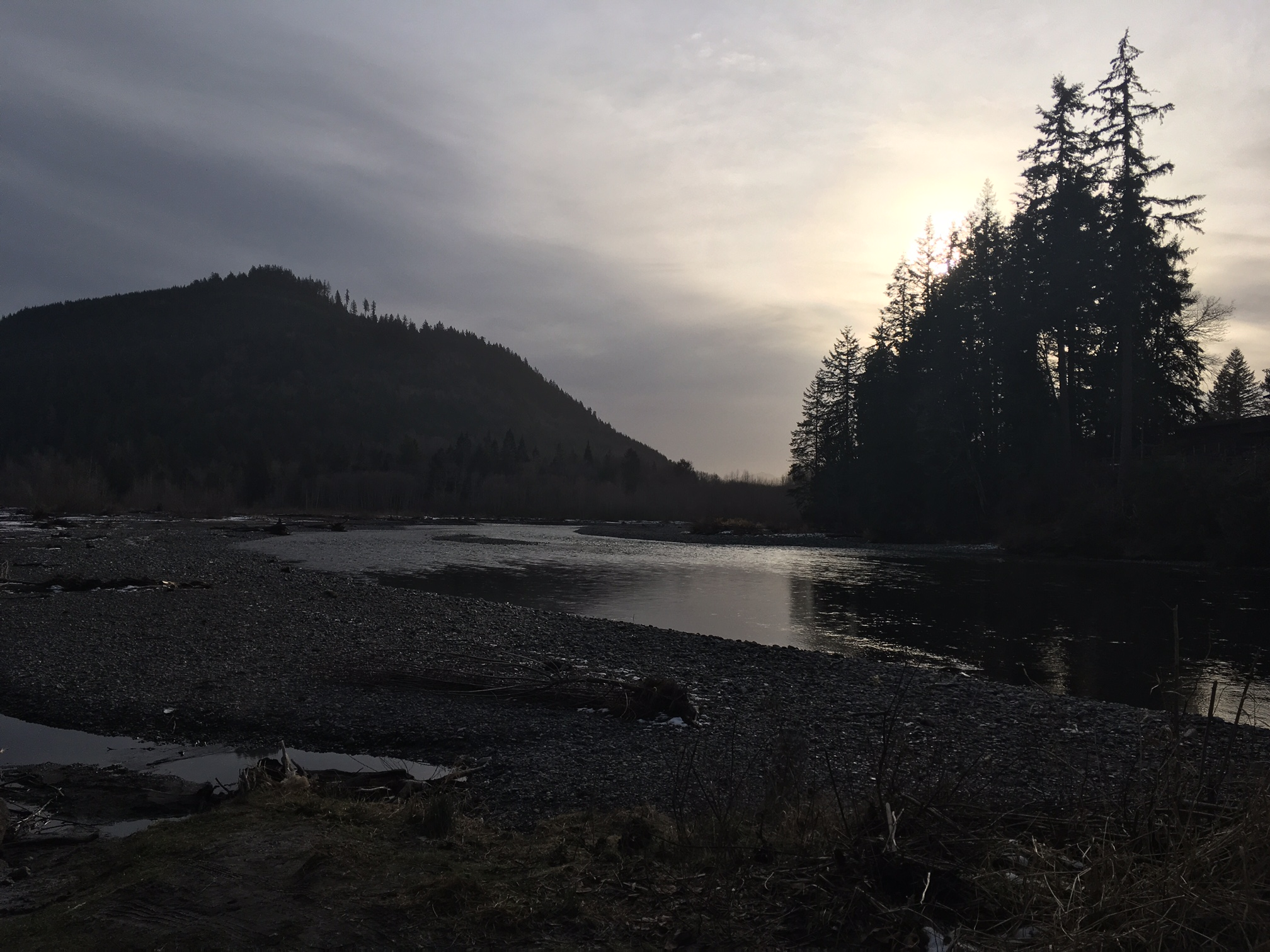 Nooksack River - North Fork and Middle Fork at the Welcome bridge. Taken at 2 PM on the shortest day of the year. Credit: Holly Roger