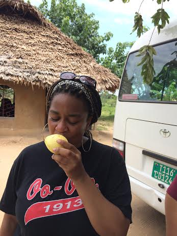 Me eating a freshly picked guava