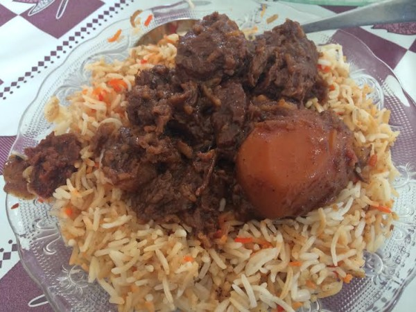 Traditional Biliani (different than regular pilau) with beef…delicious!