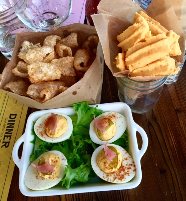 Starters: Deviled eggs, cheese sticks, and pork rinds