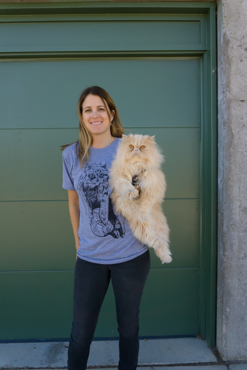 Susie is wearing a unisex size small. Lion not for sale!