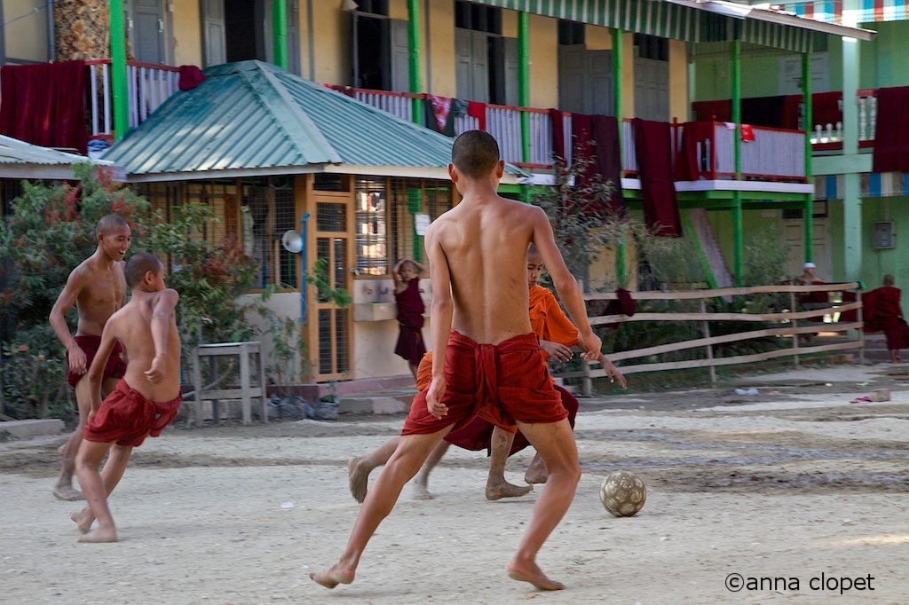 Myanmar#Monks#playing#football