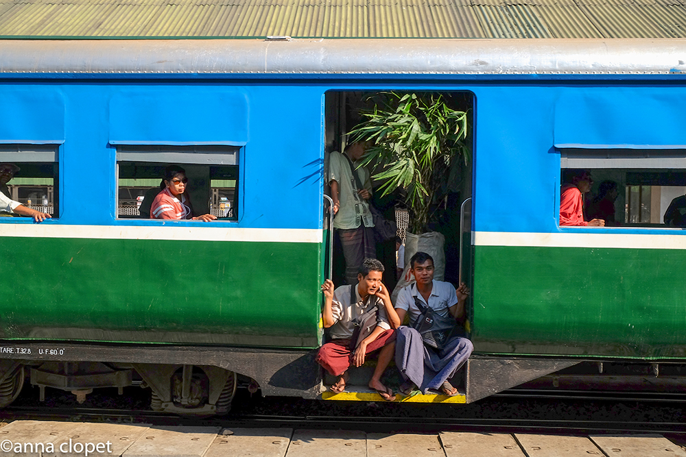Train in Yangon railway station