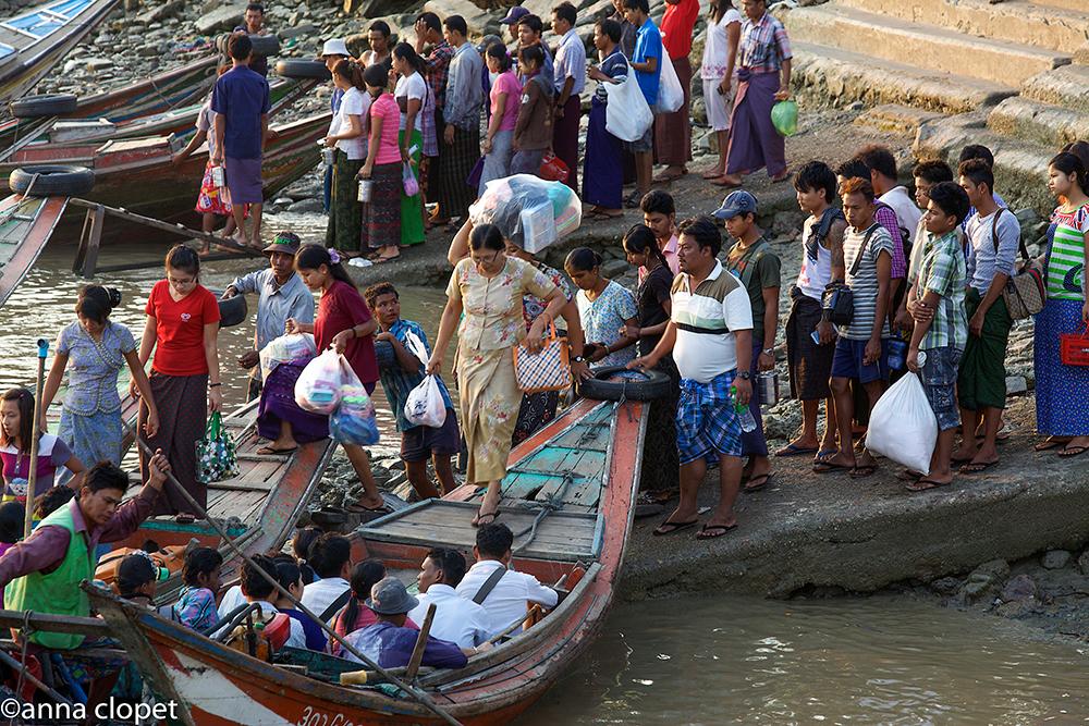 Yangon, Irrewaddy river boat scene