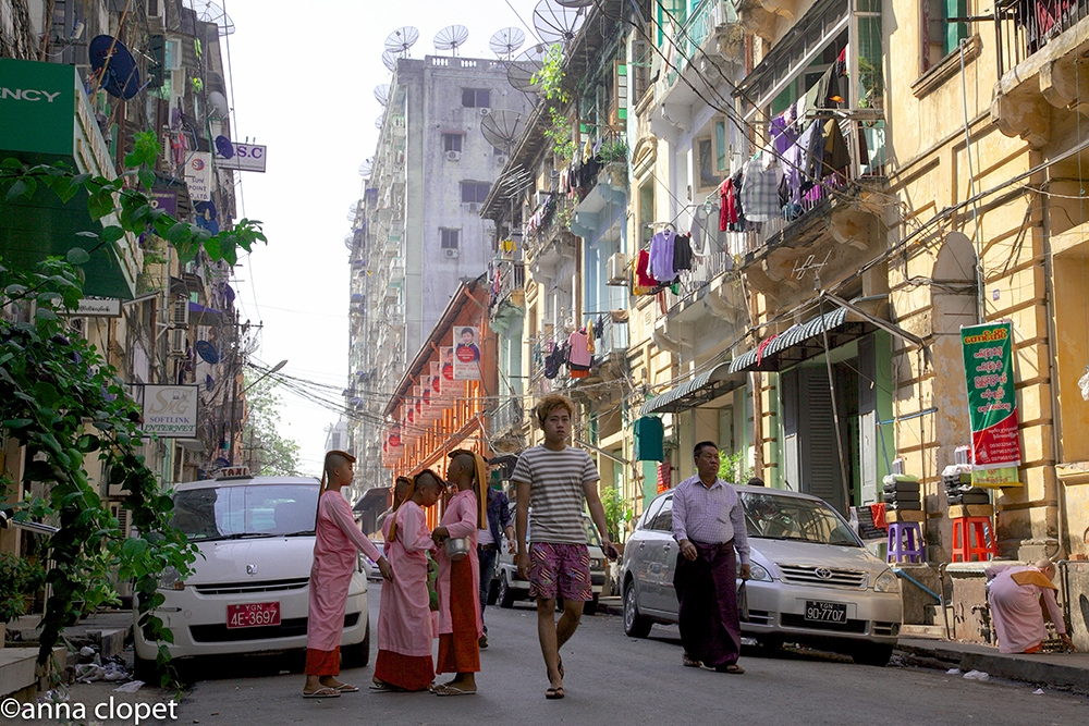 Young nuns in Yangon streets