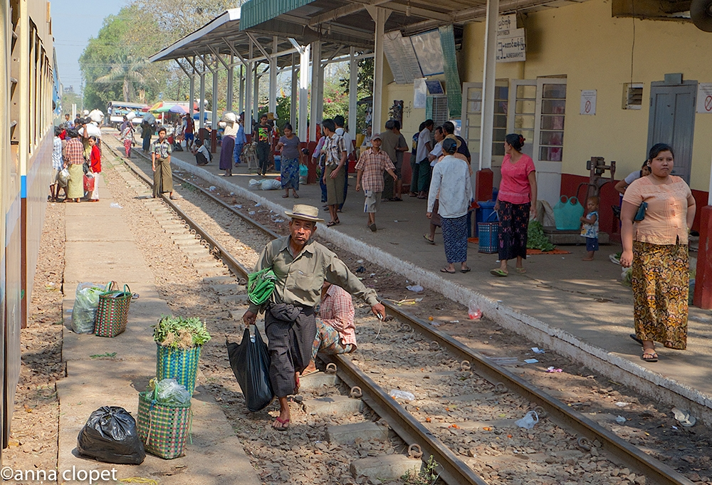 Yangon circular railway stop