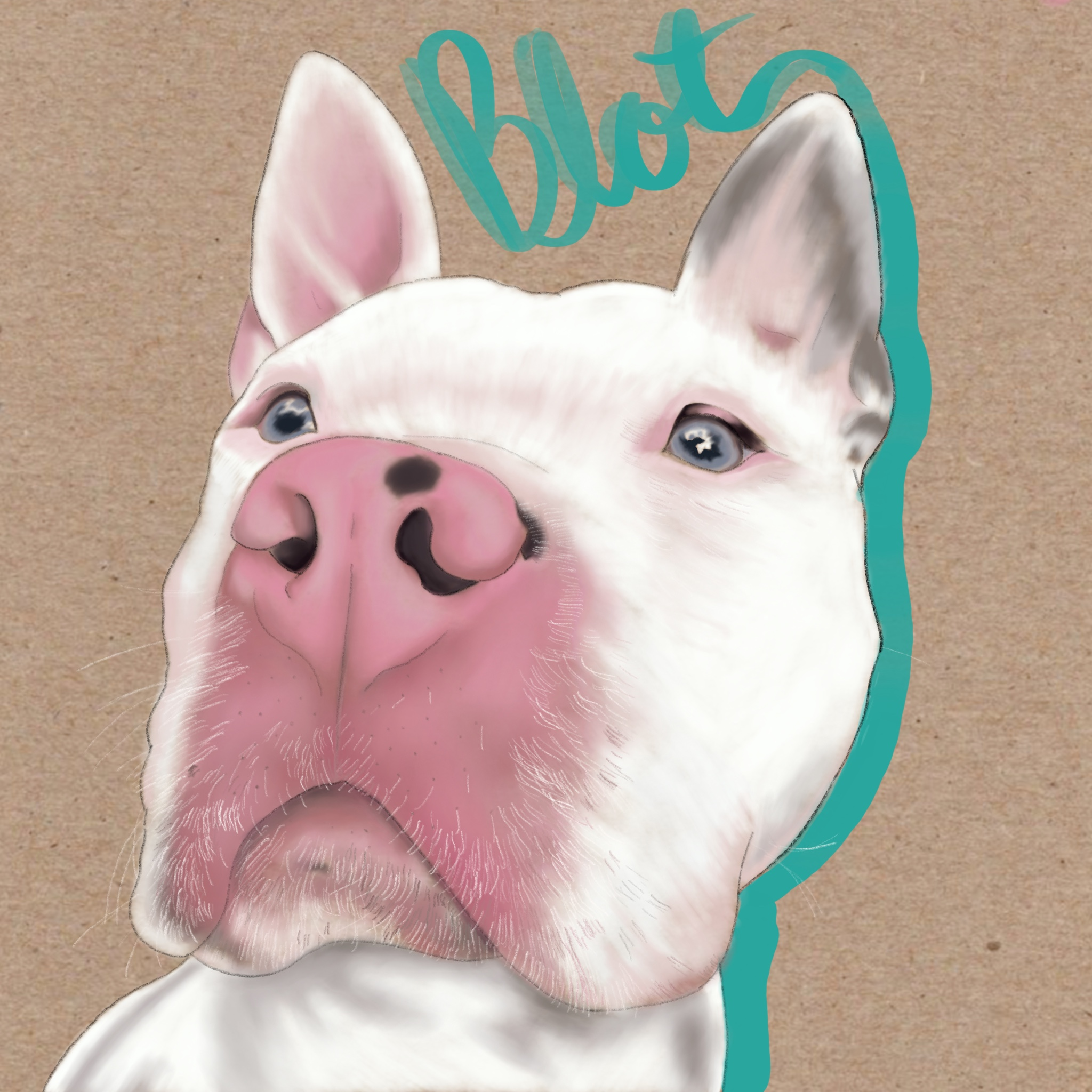 Custom Pet Portraits - My pup Blot. The pitbull mix rescue