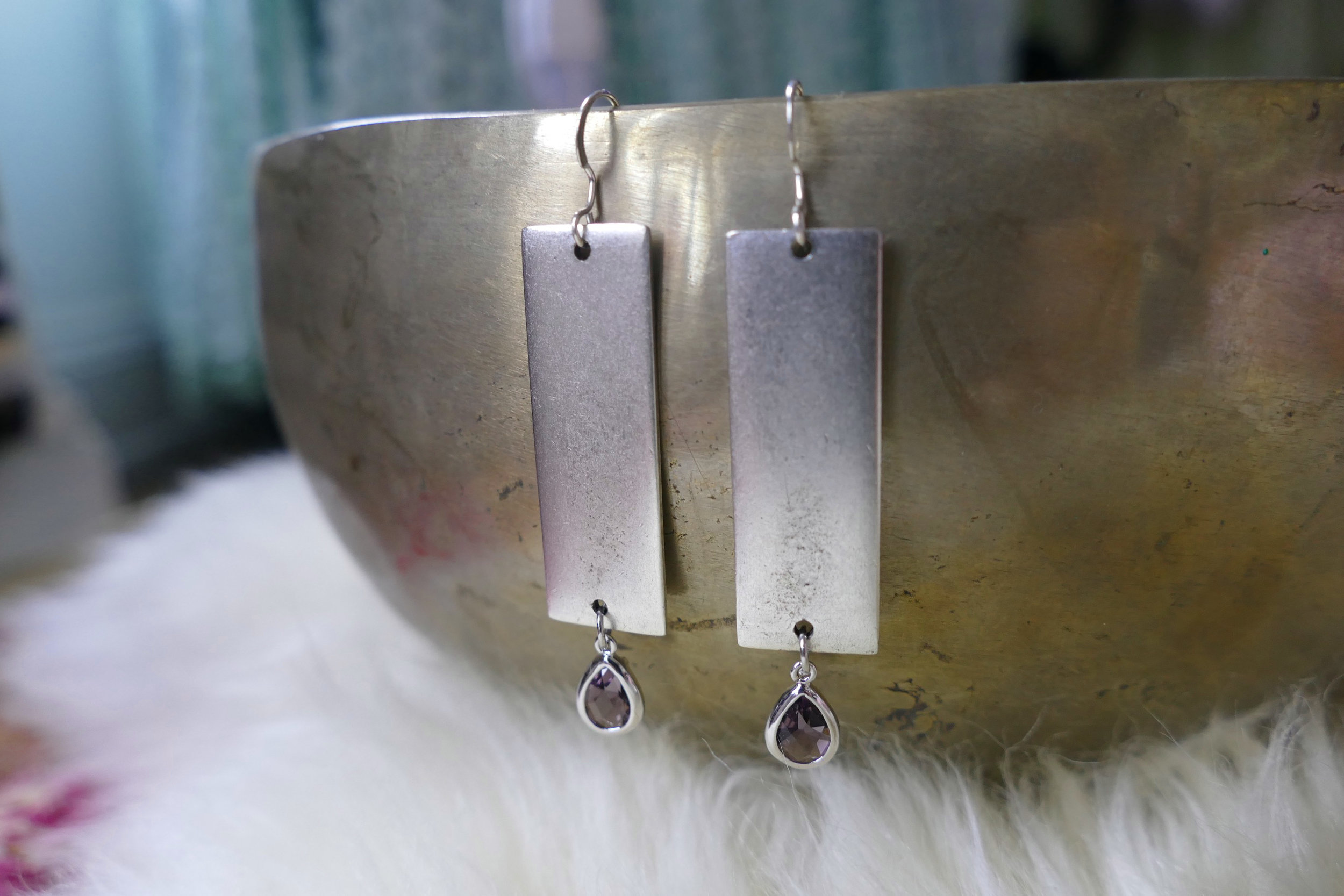 Silver Plated Rectangle Earrings