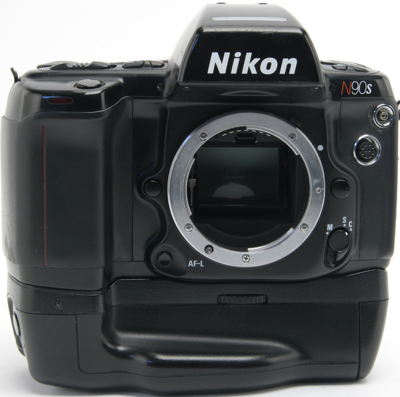The Nikon N90s with vertical grip.