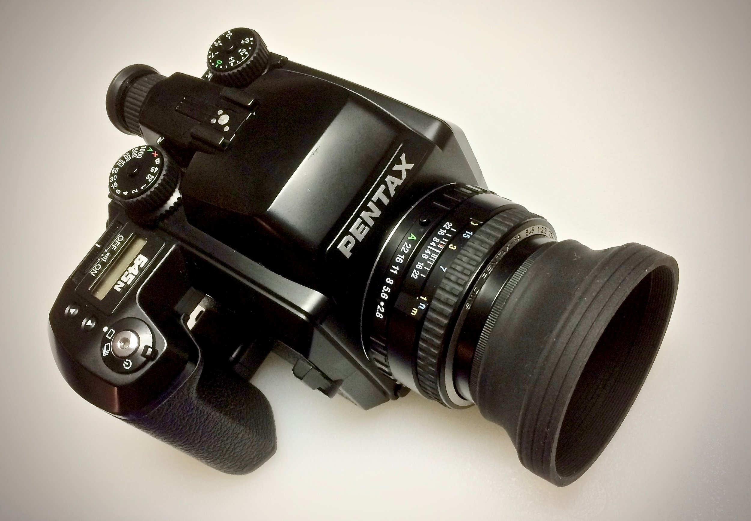 Pentax 645n with Pentax SMC FA 75mm f/2.8 and collapsable lens hood